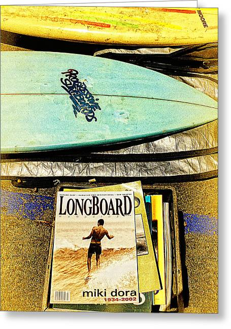 Surfing Magazine Greeting Cards - Surfboards and Magazines Greeting Card by Ron Regalado
