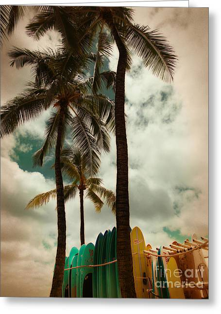 Sorbet Greeting Cards - Surfboards at Waikiki Beach Greeting Card by Lisa Howarth