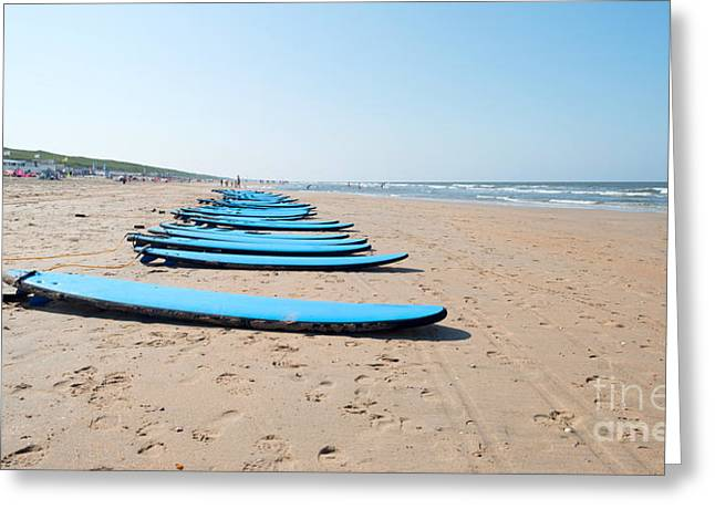 North Sea Greeting Cards - Surfboards on a beach in summer Greeting Card by Jan Marijs