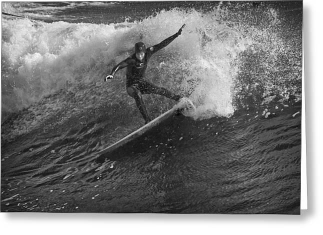 Santa Cruz Greeting Cards - Surfer 1 BW Greeting Card by Morgan Wright