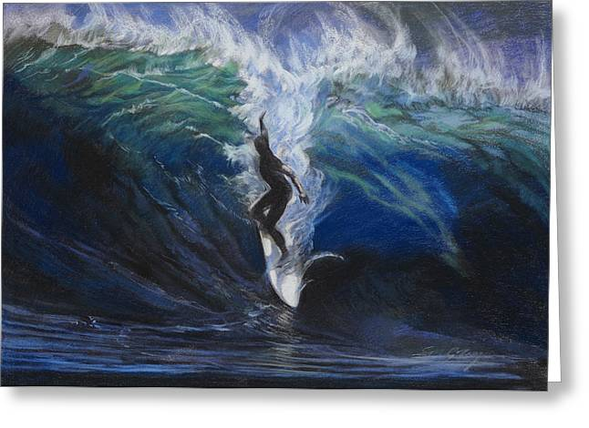 Blue Green Water Pastels Greeting Cards - Surfer 1 Greeting Card by Susan Gillespie