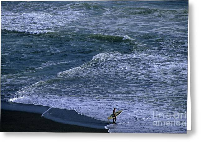 Peaceful Scene Greeting Cards - Surfer along shoreline Greeting Card by Jim Corwin