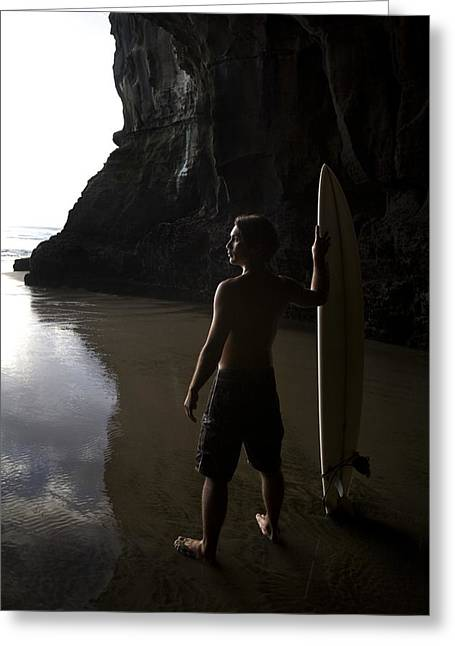 Surf Lifestyle Greeting Cards - Surfer At Muriwai New Zealand Greeting Card by Deddeda