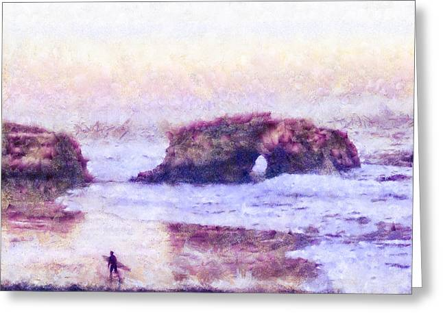 Surf Silhouette Mixed Media Greeting Cards - Surfer At Natural Bridges State Beach Greeting Card by Priya Ghose