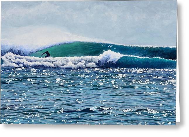 Indonesia Greeting Cards - Surfer at Padang Padang Greeting Card by Nathan Ledyard
