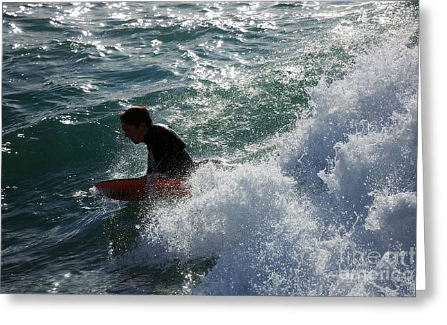 Surfers Cornwall Greeting Cards - Surfer at Porthleven Cornwall Greeting Card by Louise Heusinkveld