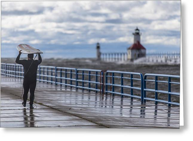 Pure Michigan Greeting Cards - Surfer at St Joe Lighthouse  Greeting Card by John McGraw