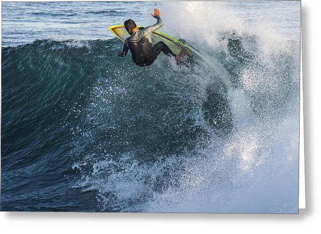 Steamer Lane Greeting Cards - Surfer at Steamer Lane Greeting Card by Bruce Frye