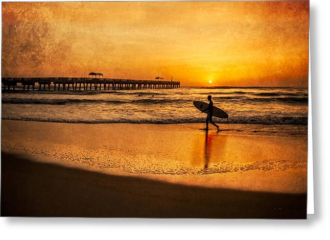 Surfer Art Greeting Cards - Surfer at Sunrise Greeting Card by Debra and Dave Vanderlaan
