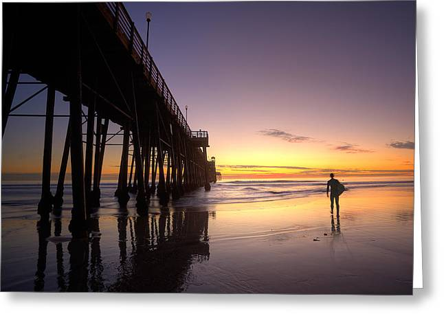 Surfer At Sunset Greeting Card by Peter Tellone