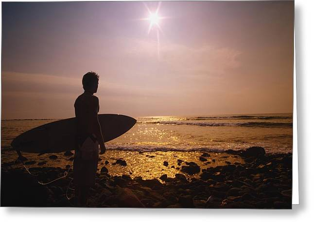 Surf Silhouette Greeting Cards - Surfer At The End Of The Day On The Greeting Card by Darren Greenwood