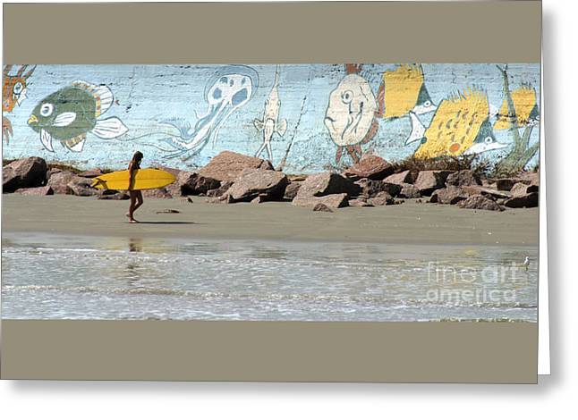 Surfer Art Greeting Cards - Surfer Beach 1034B Greeting Card by Gary Gingrich Galleries