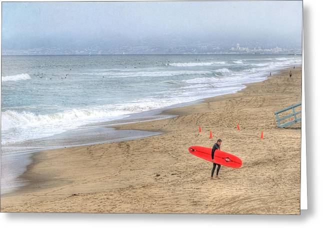 Surf City Greeting Cards - Surfer Boy Greeting Card by Juli Scalzi