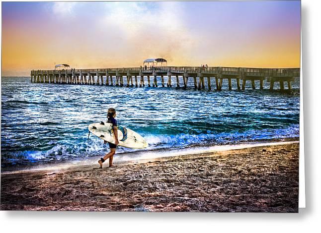 Sea Moon Full Moon Greeting Cards - Surfer Boy Greeting Card by Debra and Dave Vanderlaan