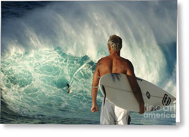 Surfing Photos Greeting Cards - Surfer Boy Meets Jaws Greeting Card by Bob Christopher