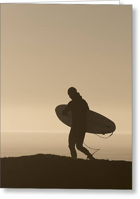 Santa Cruz Surfing Greeting Cards - Surfer Greeting Card by Brad Pietrzak