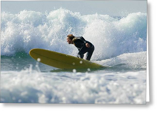 35-39 Years Greeting Cards - Surfer Catching A Wave Greeting Card by Ben Welsh