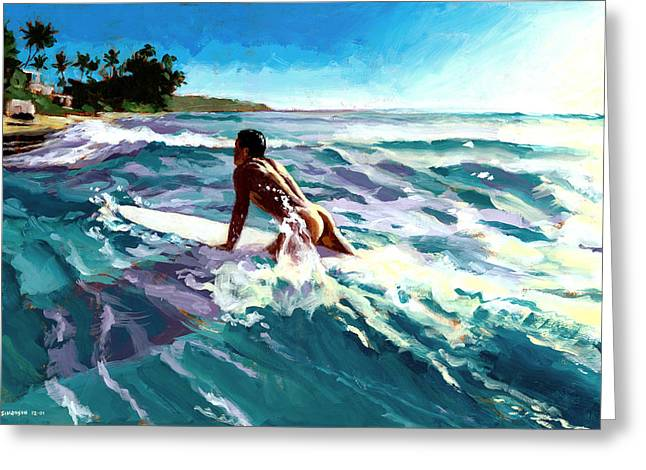 Seashores Greeting Cards - Surfer Coming In Greeting Card by Douglas Simonson