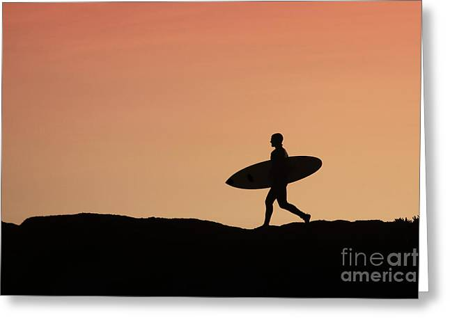 Santa Cruz Surfing Greeting Cards - Surfer Crossing Greeting Card by Paul Topp