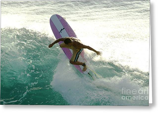 Surfing Photos Greeting Cards - Surfer Cutting Back Greeting Card by Bob Christopher