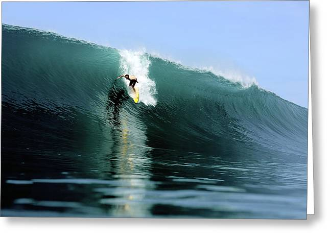 Bravado Greeting Cards - Surfer dropping into huge green surfing wave Greeting Card by Paul Kennedy