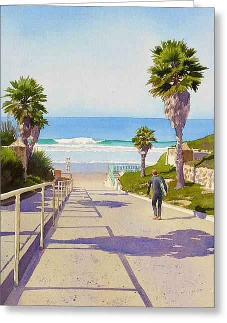 Southern California Beach Greeting Cards - Surfer Dude at Fletcher Cove Greeting Card by Mary Helmreich