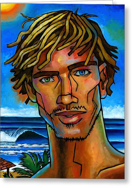 Blond Greeting Cards - Surfer Dude Greeting Card by Douglas Simonson