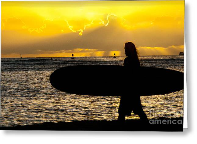 Tropical Island Greeting Cards - Surfer Dude Greeting Card by Juli Scalzi