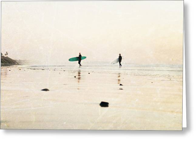 California Beach Art Greeting Cards - Surfer Dudes  Greeting Card by Bree Madden