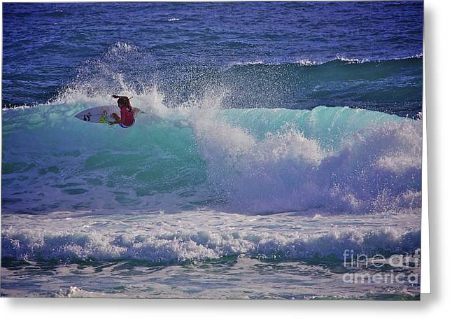 Surfer Girl 1 Greeting Card by Heng Tan