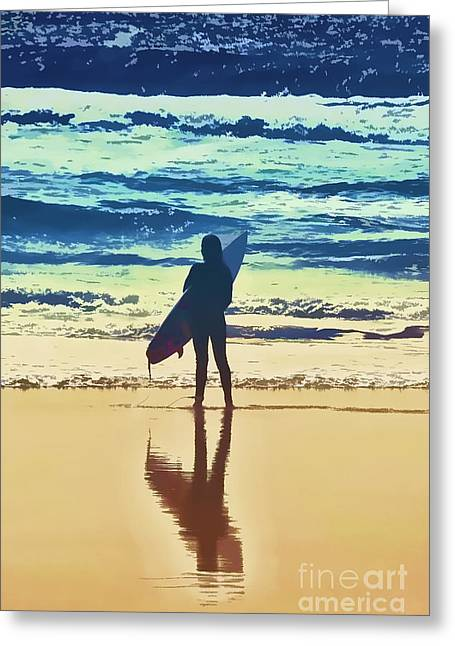 Huntington Hotel Greeting Cards - Surfer Girl Greeting Card by Andrea Auletta