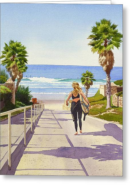 Southern California Beach Greeting Cards - Surfer Girl at Fletcher Cove Greeting Card by Mary Helmreich