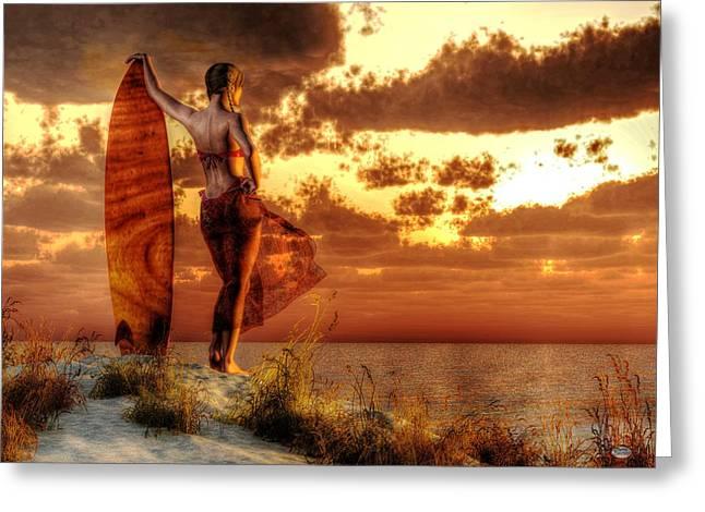 Surfer Girl Greeting Cards - Surfer Girl Greeting Card by Daniel Eskridge