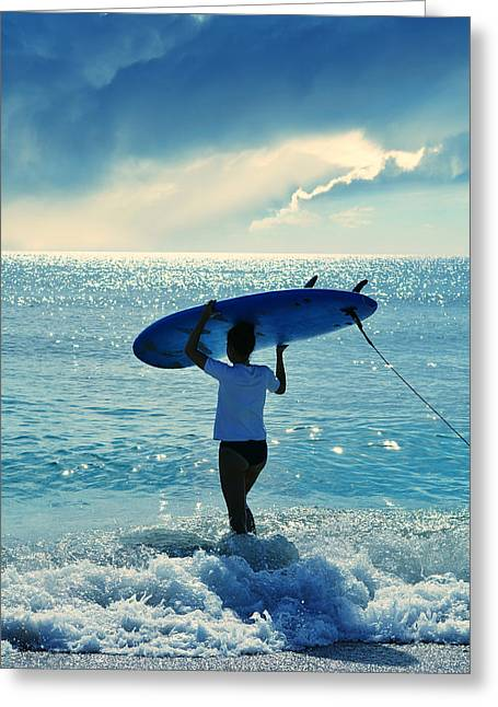 Surfer Art Greeting Cards - Surfer Girl Greeting Card by Laura  Fasulo