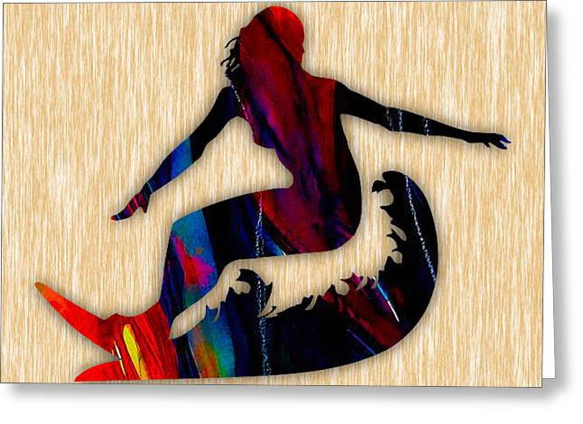 Surfer Girl Greeting Card by Marvin Blaine