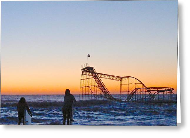 Jet Star Roller Coaster Greeting Cards - Surfer Girl Greeting Card by Photolope Images