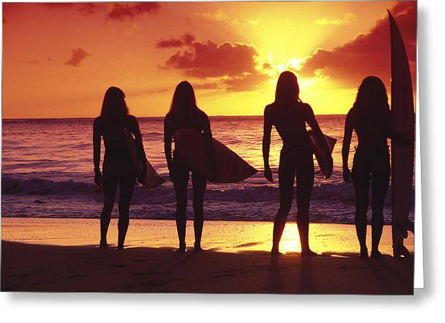 Surfer Art Greeting Cards - Surfer girl silhouettes Greeting Card by Sean Davey