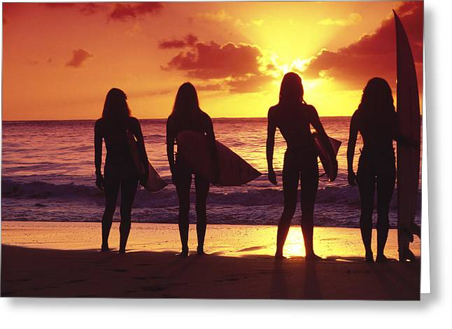 Best Sellers -  - Surfer Art Greeting Cards - Surfer girl silhouettes Greeting Card by Sean Davey