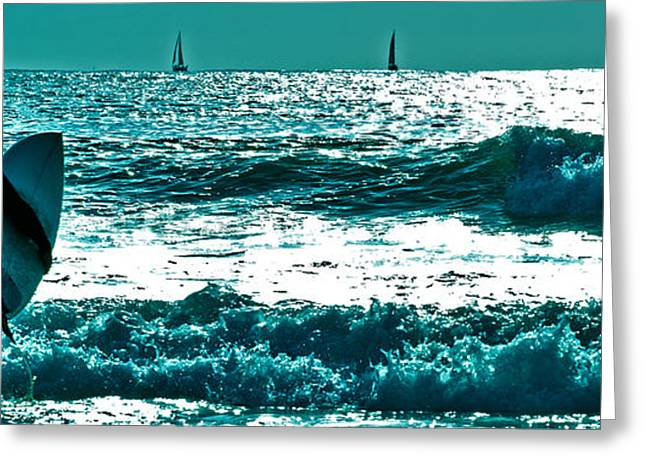 Boats In Water Greeting Cards - Surfer heads out to catch a wave 6 Greeting Card by Micah May