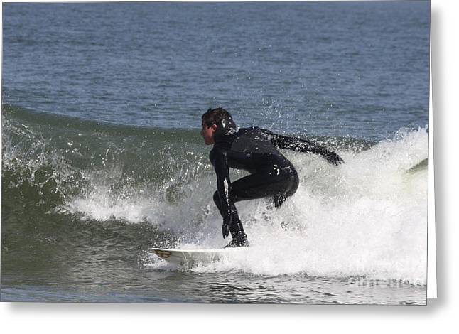 Surfer Art Greeting Cards - Surfer Hitting the Curl Greeting Card by John Telfer