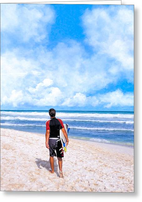 Surfer Art Greeting Cards - Surfer Hunting For Waves At Playa Del Carmen Greeting Card by Mark E Tisdale