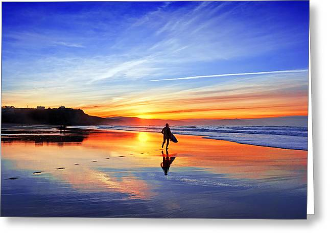 Surf Silhouette Greeting Cards - Surfer In Beach At Sunset Greeting Card by Mikel Martinez de Osaba