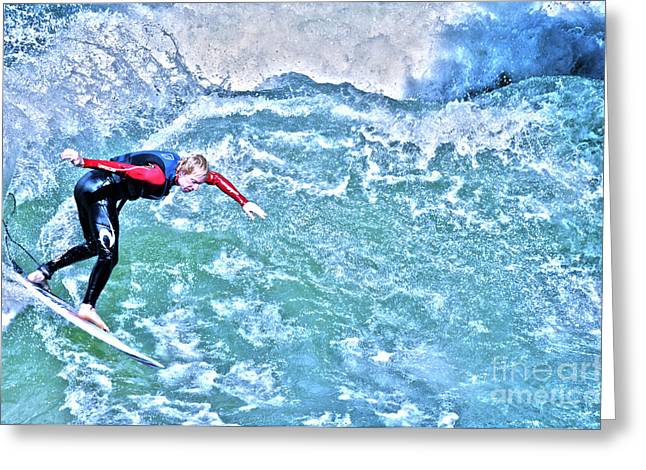 Muenchen Greeting Cards - surfer in Eisbach River Greeting Card by Judith Katz