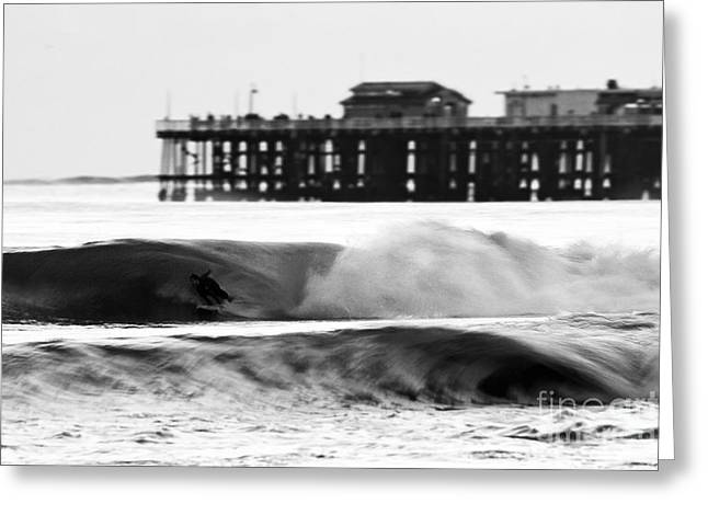 Santa Cruz Wharf Greeting Cards - Surfer in Motion Greeting Card by Paul Topp