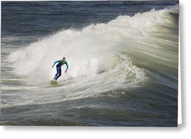 Santa Cruz Surfing Greeting Cards - Surfer in Santa Cruz Greeting Card by Carol M Highsmith