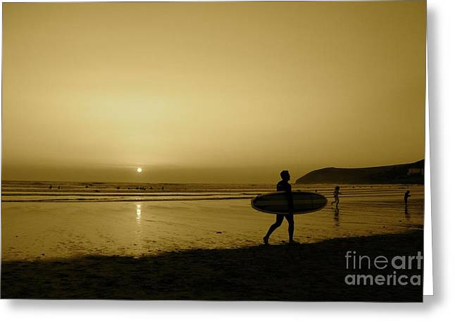 Croyde Greeting Cards - Surfer In Sepia Greeting Card by Helen  Cooke