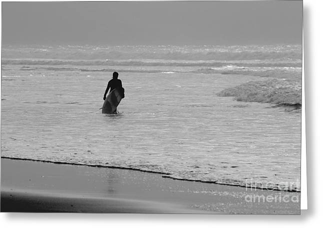 Surfer Art Greeting Cards - Surfer in the Mist Greeting Card by Terri  Waters