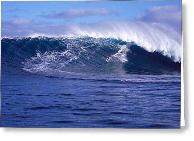 Panoramic Ocean Greeting Cards - Surfer In The Ocean, Maui, Hawaii, Usa Greeting Card by Panoramic Images