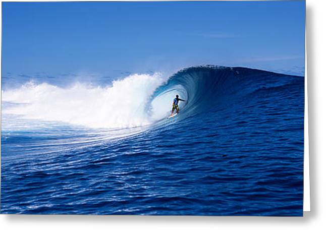 Risk Society Greeting Cards - Surfer In The Sea, Tahiti, French Greeting Card by Panoramic Images
