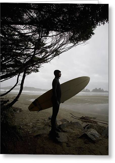 Surf Silhouette Greeting Cards - Surfer Looking Out To The Water Greeting Card by Deddeda